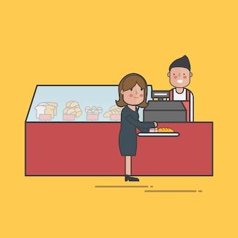 Illustration des bäckereigeschäfts-vektorsatzes