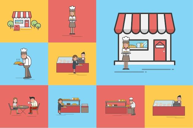 Illustration des bäckereishopvektorsatzes