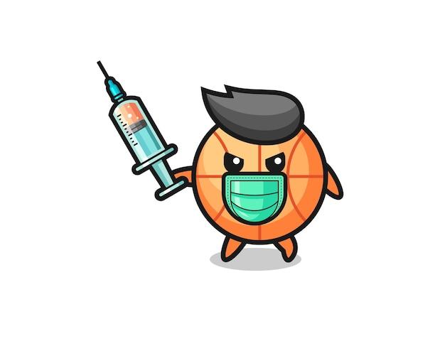 Illustration des basketballs zur bekämpfung des virus, süßes design