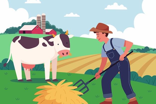 Illustration des bio-flachlandwirtschaftsberufs