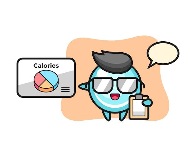 Illustration des blasenmaskottchens als ein ernährungsberater, niedlicher stilentwurf
