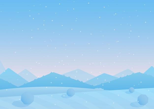 Illustration des blauen bunten hintergrundes der schneebedeckten hügel