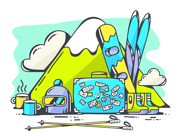 Illustration des blauen koffers und des winterreisezubehörs auf grünem hintergrund.