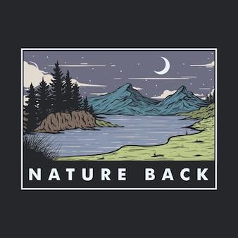 Illustration des blicks auf den see am fuße des berges bei nacht