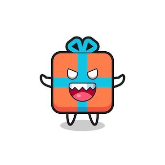 Illustration des bösen geschenkbox-maskottchencharakters, niedliches design für t-shirt, aufkleber, logo-element