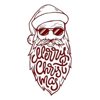 Illustration des bösen weihnachtsmanns in gläsern mit schriftzug frohe weihnachten auf seinem bart. illustration im weinlesestil auf weißem hintergrund.