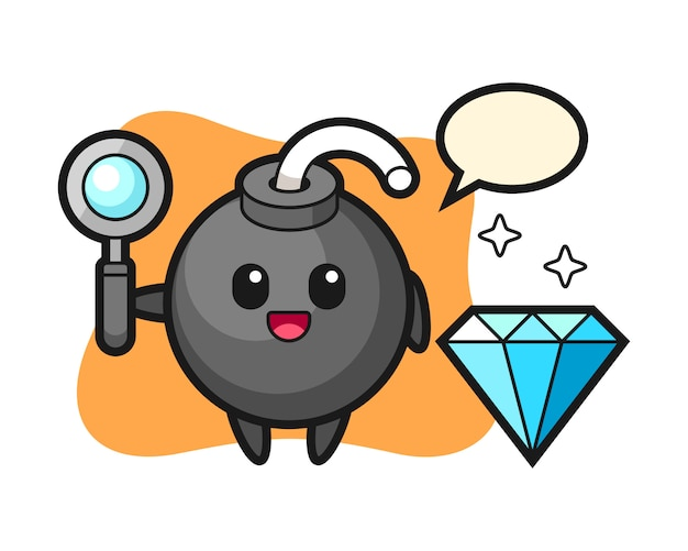 Illustration des bombencharakters mit einem diamanten