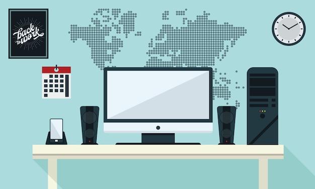 Illustration des büro-arbeitsplatz-tabellen-computer-geschäfts-flachen designs