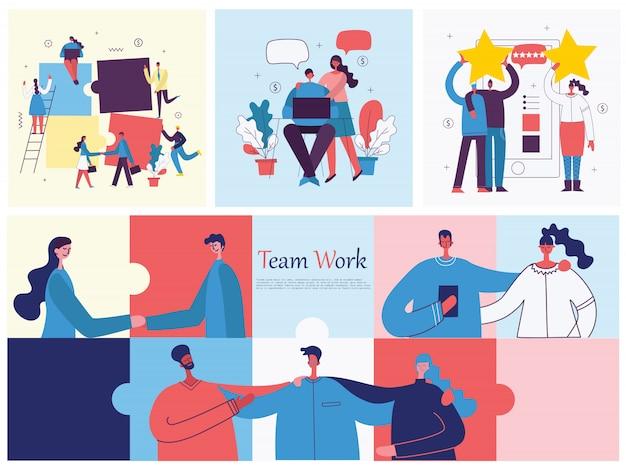 Illustration des bürokonzepts geschäftsleute im flachen stil. e-commerce- und teamwork-business-puzzle-konzept