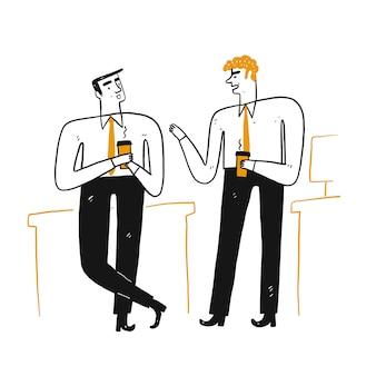 Illustration des bürolebens, das kaffeezeit entspannt ist