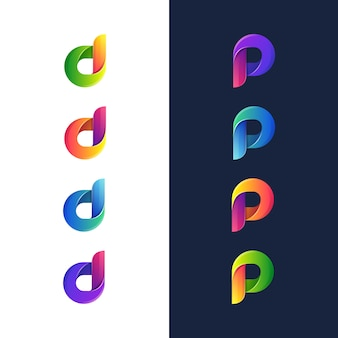Illustration des bunten buchstabens d und des buchstaben p logo, symbol, aufkleber designvorlage