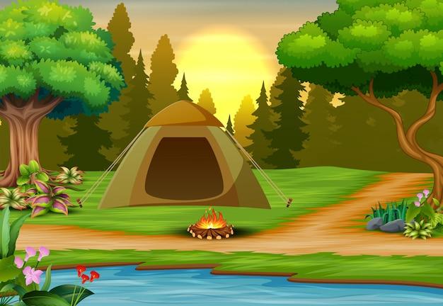 Illustration des campingplatzes auf sonnenunterganglandschaft