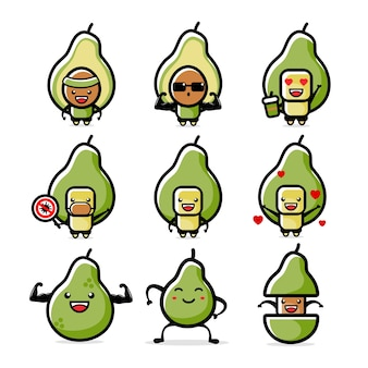 Illustration des cartoon-avocado-maskottchens