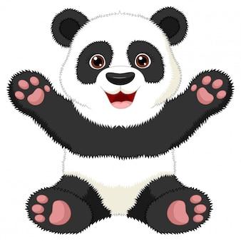 Illustration des cartoon sitzenden pandas auf weißem hintergrund