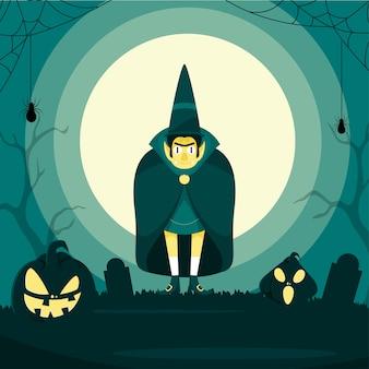 Illustration des cartoon-vampirs, der zylinder mit jack-o-laternen und spinnennetz trägt Premium Vektoren