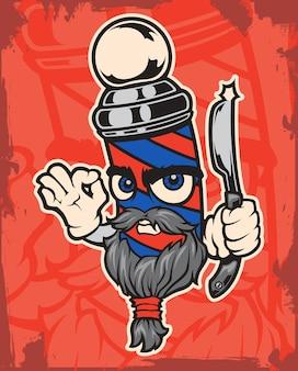Illustration des charakterfriseurs auf einem roten hintergrund.