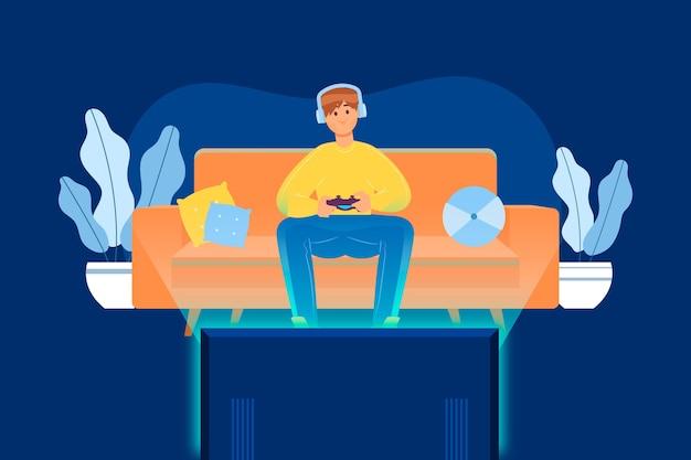 Illustration des charakters, der videospiel spielt