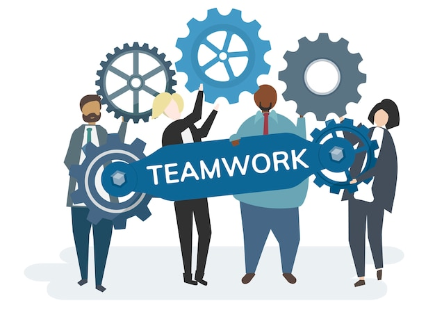 Illustration des charakters mit dem zahnrad übersetzt das teamwork-konzept