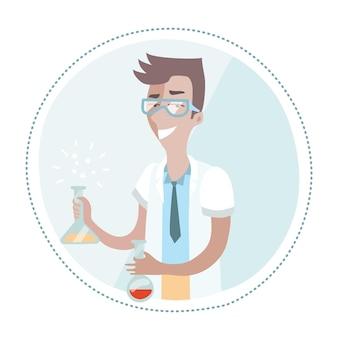 Illustration des chemikers hält eine flasche in seinen händen