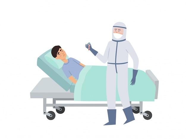 Illustration des chinesischen patienten im bett und des stehenden arztes in der schutzkleidung im krankenhaus lokalisiert auf weiß. konzept des coronavirus