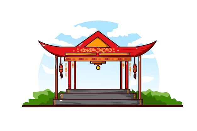 Illustration des chinesischen pavillons gegen einen klaren bewölkten himmelhintergrund