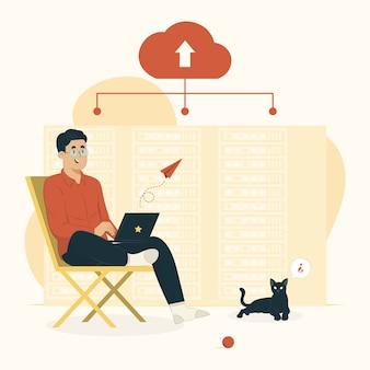 Illustration des cloud-hosting-konzepts