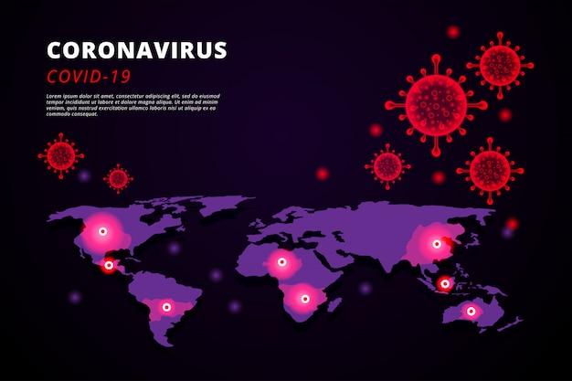 Illustration des coronavirus-hintergrunds mit einer karte der ausbreitung in der welt