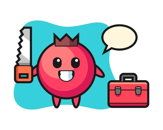 Illustration des cranberry-charakters als holzarbeiter, niedlicher stil, aufkleber, logoelement
