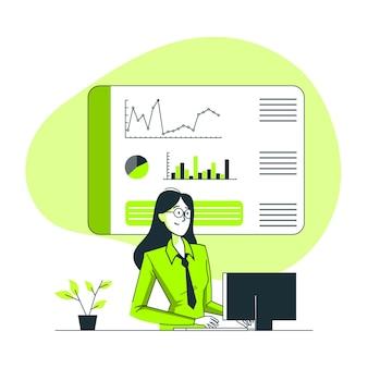 Illustration des dashboard-konzepts Kostenlosen Vektoren