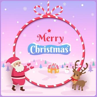 Illustration des designs der frohen weihnachten mit weihnachtsmann und ren auf seilrahmen und schneebedecktem.