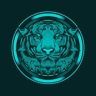 Illustration des detaillierten entwurfs des tigerkopfes und der kreiskunst