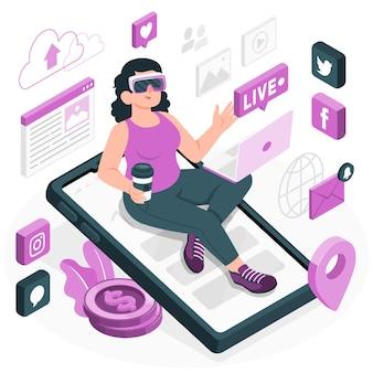Illustration des digitalen lifestyle-konzepts