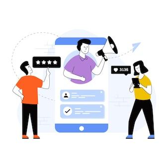 Illustration des digitalen marketings mit hochwertigen grafiken