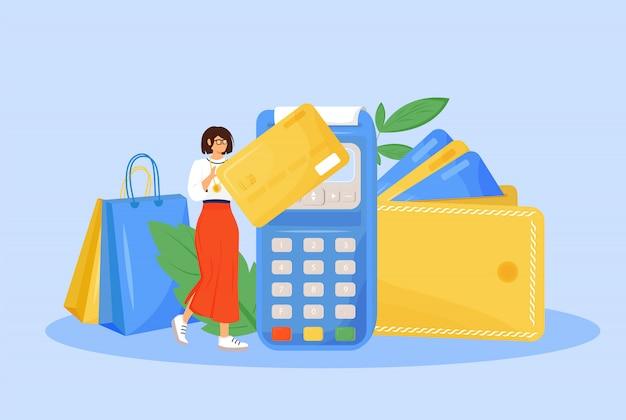 Illustration des digitalen zahlungskonzepts. frau, die mit kreditkartenkarikaturfigur für webdesign zahlt. e-zahlungssystem, moderne finanztechnologie, bargeldlose zahlung kreative idee