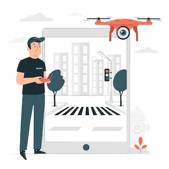 Illustration des drohnenüberwachungskonzepts