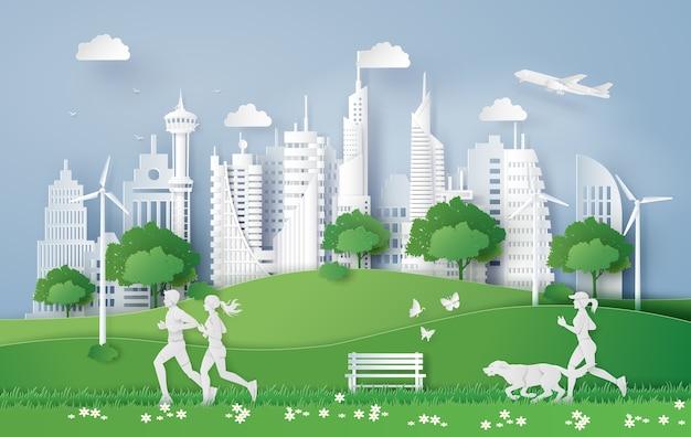Illustration des eco konzeptes, grüne stadt im blatt.