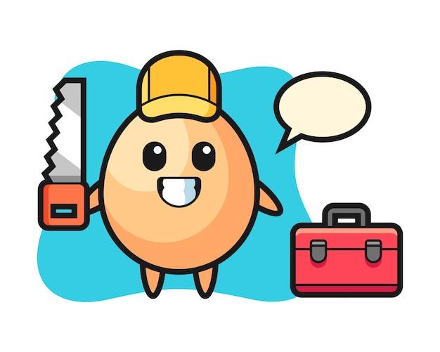 Illustration des eiercharakters als holzarbeiter, niedlicher stilentwurf für t-shirt, aufkleber, logoelement