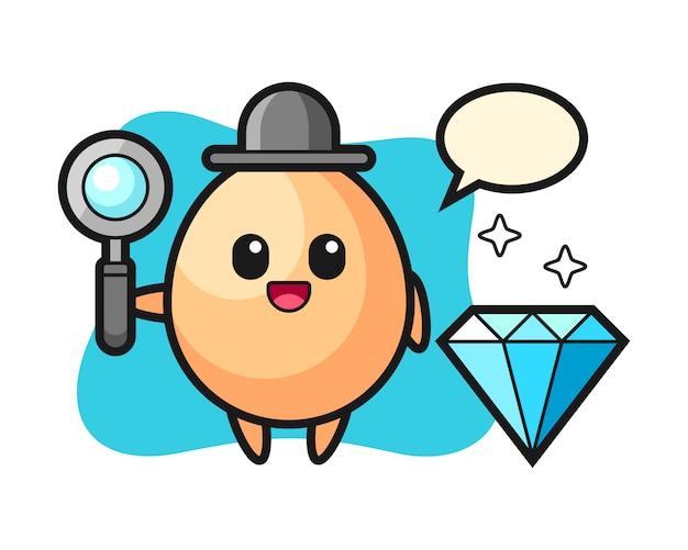 Illustration des eiercharakters mit einem diamanten, niedlichen stilentwurf für t-shirt, aufkleber, logoelement