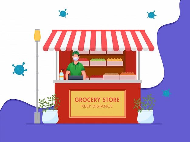 Illustration des einkäufers, der medizinische maske mit lebensmittelgeschäft und gegebener nachricht trägt abstand halten auf weißem und blauem abstraktem hintergrund.
