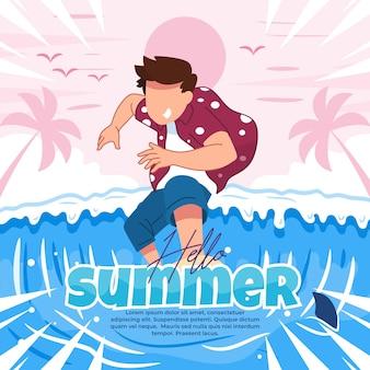 Illustration des einladenden sommers mit lustigen aktivitäten