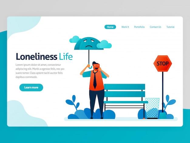 Illustration des einsamkeitslebens. fühle mich einsam, unglücklich, allein, traurig, nutzlos. geisteskrankheit. versagen fühlen, nicht geschätzt. vektorkarikatur für websitehomepage-titel-zielseitenseiten-schablonen-apps
