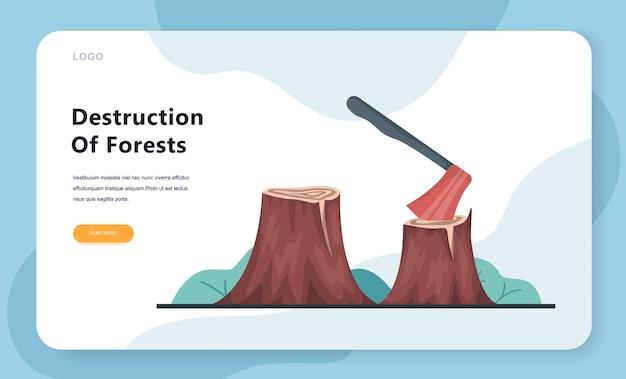 Illustration des entwaldungskonzepts. axt im baumstumpf, leere landschaft, ökologiekatastrophe. waldhacken web-banner