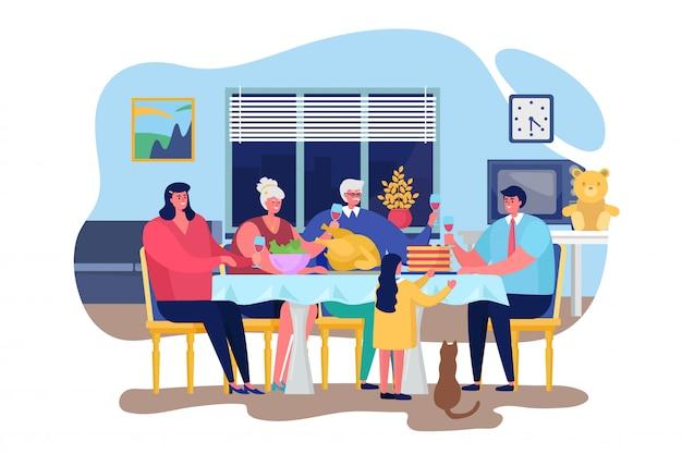 Illustration des familienessens, glückliche menschen der karikatur, die zusammen im innenraum des wohnzimmers speisen, thanksgiving, das abendessen feiert
