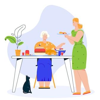 Illustration des familienessens. großmutter sitzt am festlichen esstisch. enkelin oder tochter serviert gericht. familie feiert urlaub, essen zusammen, beziehungskonzept