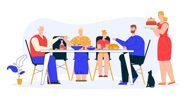 Illustration des familienessens. großvater, großmutter, tochter und vater sitzen am festlichen tisch und essen geschirr. mama serviert dessertkuchen. familienurlaub, traditionen, beziehungen