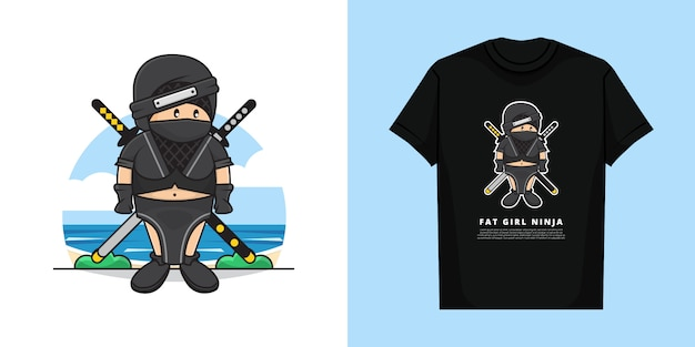 Illustration des fetten mädchen-ninja-charakters mit t-shirt-modellentwurf