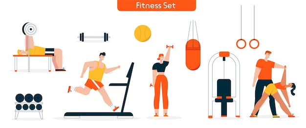 Illustration des fitness-charakters im fitness-set. mann läuft auf laufband, bankdrücken langhantel. frau übt hanteln, yoga-dehnung mit personal trainer. sportgeräte