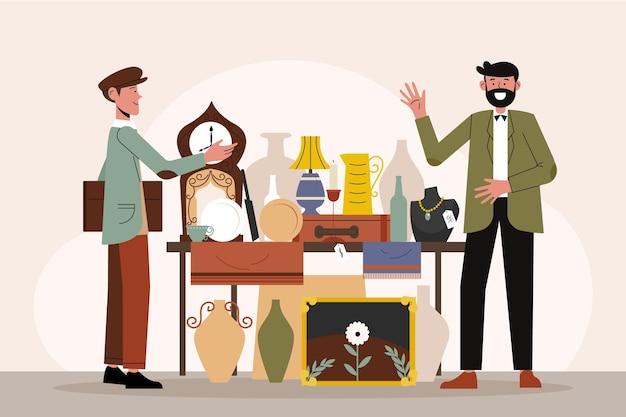 Illustration des flachen antiquitätenmarktes mit verschiedenen gegenständen