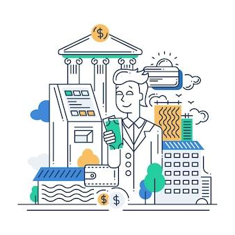 Illustration des flachen entwurfs der modernen linie des vektors machen geldkomposition und infografikenelemente mit einem geschäftsmann