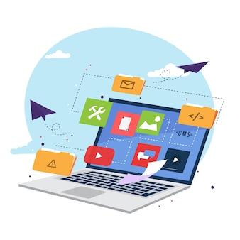 Illustration des flachen managementinhaltsverwaltungssystems